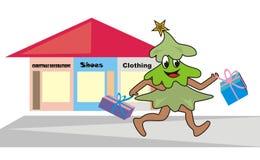 Weihnachtsbaum und Spiegel Stockfoto
