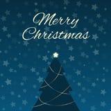 Weihnachtsbaum und sternenklarer Himmel Lizenzfreie Stockfotos