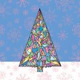 Weihnachtsbaum-Vektor-Illustration Hand gezeichneter guten Rutsch ins Neue Jahr-Hintergrund Winterurlaubkarte Stockbilder