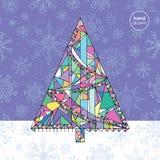 Weihnachtsbaum-Vektor-Illustration Hand gezeichneter guten Rutsch ins Neue Jahr-Hintergrund Winterurlaubkarte Stockfotos
