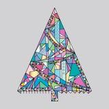 Weihnachtsbaum-Vektor-Illustration Hand gezeichneter guten Rutsch ins Neue Jahr-Hintergrund Winterurlaubkarte Stockbild