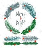 Weihnachtsbaum-Vektorbürsten der Tinte Hand gezeichnete für festliche Grenzen stock abbildung