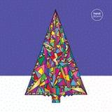 Weihnachtsbaum-Vektorillustration in der modernen Art Hand gezeichneter Hintergrund des neuen Jahres Winterurlaubkarte Stockbild