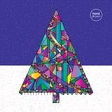 Weihnachtsbaum-Vektorillustration in der modernen Art Hand gezeichneter Hintergrund des neuen Jahres Winterurlaubkarte Lizenzfreie Stockfotografie