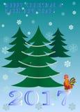 Weihnachtsbaum-Vektorkarte des neuen Jahres des Hahnjahres Stockbilder