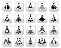 Weihnachtsbaum - verschiedene Arten Vektorknöpfe eingestellt Stockbild