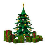 Weihnachtsbaum verzierte Gold mit grünen Geschenken Stockfoto