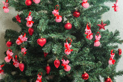 Weihnachtsbaum verzierte Hintergrund Stockbild