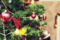 Weihnachtsbaum verzierte neues Jahr der Spielwaren Lizenzfreies Stockfoto