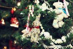 Weihnachtsbaum verzierte neues Jahr der Spielwaren Stockfotografie
