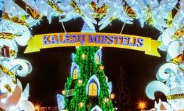 Weihnachtsbaum in Vilnius Litauen 2015 Lizenzfreie Stockbilder