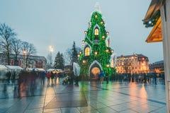 Weihnachtsbaum in Vilnius Litauen 2015 Lizenzfreie Stockfotografie