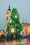 Weihnachtsbaum in Vilnius Litauen 2015 Stockbild