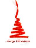 Weihnachtsbaum vom glänzenden roten Band lokalisiert Stockbilder