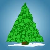 Weihnachtsbaum von Bällen, von Hand gezeichnet, Vektorillustration stockfotos