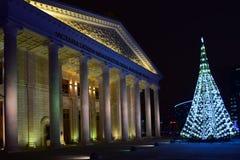 Weihnachtsbaum vor dem neuen Opern-Theater in Astana Lizenzfreies Stockfoto