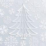 Weihnachtsbaum Weißbuch des Vektors mit Schneeflocken Stockfotos