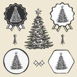 Weihnachtsbaum-Weinlesesymbol-Emblemaufkleber vektor abbildung