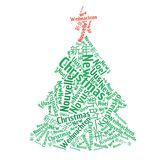 Weihnachtsbaum Wort-Wolkenillustration Lizenzfreies Stockfoto
