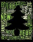 Weihnachtsbaum-Wortwolke stockbild