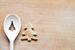 Weihnachtsbaum-Zeichenzusammenfassungslebensmittel-Backenhintergrund Lizenzfreie Stockbilder