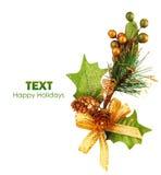 Weihnachtsbaum-Zweigverzierung stockfotografie