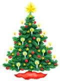 Weihnachtsbaumaquarell Stockfotos