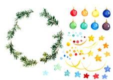 Weihnachtsbaumast-Flitterbälle, neuer Risssatz lokalisiert Vektor Abbildung