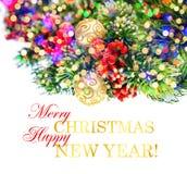 Weihnachtsbaumast mit bunten Lichtern Festliche Dekoration Lizenzfreies Stockbild
