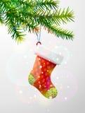 Weihnachtsbaumast mit dekorativer roter Socke Stockbilder