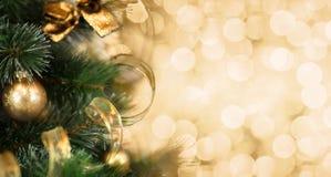 Weihnachtsbaumast mit unscharfem goldenem Hintergrund Stockfotos