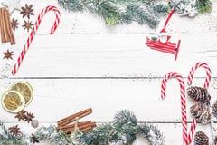 Weihnachtsbaumast mit Zuckerstange, Gewürz und Tannenzweigen O Lizenzfreie Stockbilder