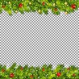 Weihnachtsbaumaste auf transparentem Hintergrundvektor Lizenzfreie Stockfotos