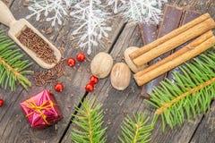 Weihnachtsbaumaste mit Gewürzen Stockfotografie