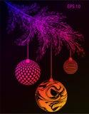 Weihnachtsbaumaste mit Spielzeug Tannenzweige lizenzfreie abbildung