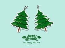 Weihnachtsbaumaufkleber Frohe Weihnachten und guten Rutsch ins Neue Jahr für stockfotos