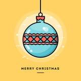 Weihnachtsbaumdekoration, dünne Linie Fahne des flachen Designs Lizenzfreie Stockbilder