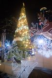 Weihnachtsbaumdekoration an der Weihnachts- und des neuen Jahresfeier Lizenzfreie Stockbilder