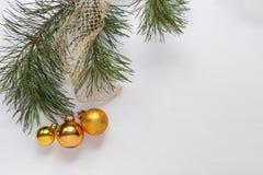 Weihnachtsbaumdekoration mit der Kiefernniederlassung auf dem hölzernen weißen Hintergrund lizenzfreies stockbild