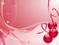 Weihnachtsbaumdekorationen auf einem roten Hintergrund Stockfoto