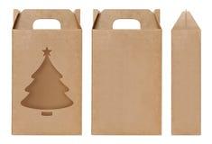 Weihnachtsbaumform Fenster des Kastens schnitt braune Verpackungsschablone, leere lokalisierter weißer Hintergrund Kraftpapier-Ka Lizenzfreie Stockfotos