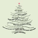 Weihnachtsbaumform von den Wörtern Stockfoto