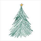 Weihnachtsbaumgekritzel stilisierte, die gezeichnete Hand, Grün auf Weiß Stockfotos
