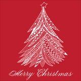 Weihnachtsbaumgekritzel stilisierte, die Hand, die gezeichnet wurde, weiß auf Rot Lizenzfreies Stockfoto