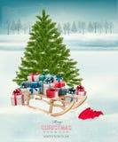 Weihnachtsbaumhintergrund mit Geschenken und einem Pferdeschlitten Lizenzfreie Stockfotografie