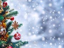 Weihnachtsbaumhintergrund und Weihnachtsdekorationen mit Schnee, verwischt, Funken, glühend Glückliches neues Jahr und Weihnachte Stockfoto