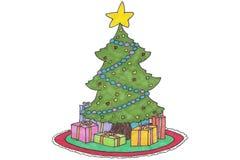 Weihnachtsbaumkarikatur Stockfoto