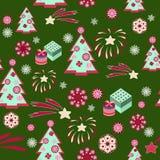 Weihnachtsbaummuster auf grünem Hintergrund - Illustration Stockfotografie