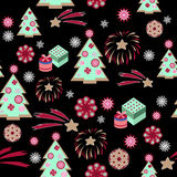 Weihnachtsbaummuster auf schwarzem Hintergrund Stockfotos
