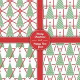 Weihnachtsbaummuster stellte in Linie Kunst 05 ein Stockfotos
